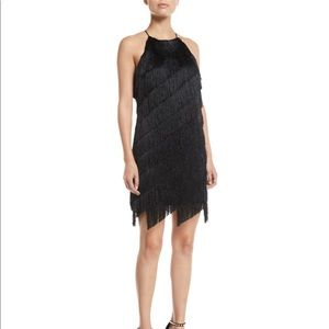 Fringe black cocktail dress.
